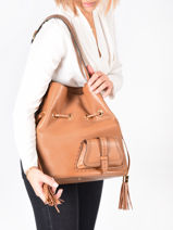 Large Leather Bucket Bag Premier Flirt Lancel Brown premier flirt A10924-vue-porte