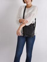 Small Leather Elsa Bucket Bag Lancel Black elsa A10997-vue-porte