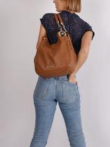 Lillie Large Leather Shoulder Bag Michael kors Brown lilie T9G0LE3L-vue-porte