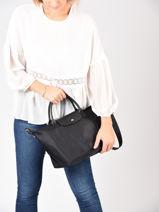 Longchamp Le pliage neo Handbag Black-vue-porte
