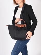 Longchamp Le pliage Handbag Black-vue-porte