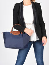 Longchamp Le pliage Handbag Blue-vue-porte
