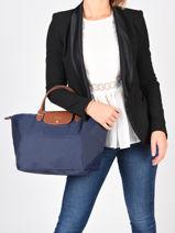 Longchamp Le pliage Sacs porté main Bleu-vue-porte
