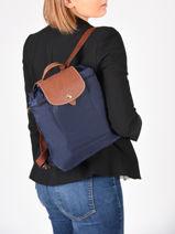 Longchamp Le pliage Backpack Blue-vue-porte