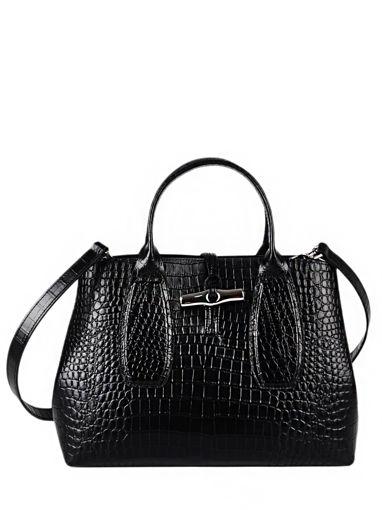 Longchamp Roseau Croco Sacs porté main Noir