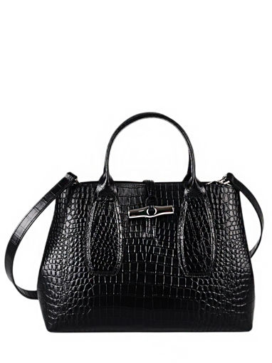 Longchamp Roseau Croco Handbag Black