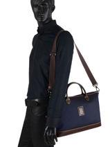 Longchamp Boxford Briefcase Blue-vue-porte