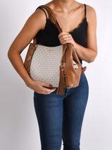 Sac Shopping Carrie Michael kors Beige carrie F0G1AE3B-vue-porte