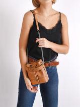 Leather Ninon Mini Bucket Bag Lancel Brown ninon A11466-vue-porte