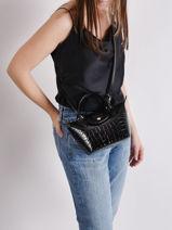 Longchamp Le pliage cuir croco Sacs porté main Noir-vue-porte
