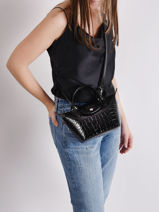 Longchamp Le pliage cuir croco Handbag Gray-vue-porte