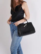 Longchamp Roseau Croco Sacs porté main Noir-vue-porte
