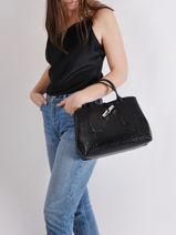 Longchamp Roseau Croco Handbag Black-vue-porte