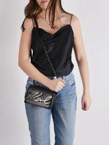 Crossbody Bag K Signature Leather Karl lagerfeld Black k signature 205W3005-vue-porte