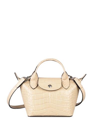 Longchamp Le pliage cuir croco Handbag Beige