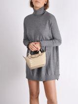 Longchamp Le pliage cuir croco Handbag Beige-vue-porte