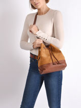 Suede Leather Folk Bucket Bag Gerard darel folk DPS16407-vue-porte