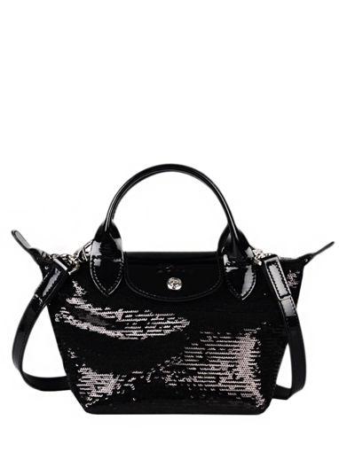 Longchamp Le pliage paillettes Sacs porté main Noir