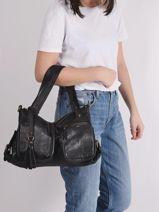 Leather Cow Shoulder Bag Basilic pepper Brown cow BCOW37-vue-porte
