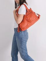 Leather Cow Shoulder Bag Basilic pepper Orange cow BCOW37-vue-porte