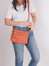 Leather Crossbody Bag Cow Basilic pepper Orange cow BCOW29-vue-porte