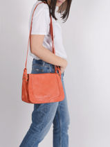 Shoulder Bag Cow Leather Basilic pepper Orange cow BCOW15-vue-porte