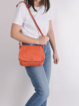 Leather Crossbody Bag Cow Basilic pepper Orange cow BCOW18-vue-porte