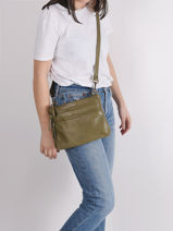 Leather Crossbody Bag Cow Basilic pepper Green cow BCOW29-vue-porte