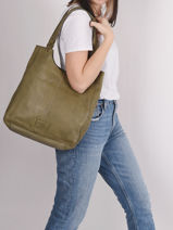 Leather Tote Bag Cow Basilic pepper Green cow BCOW20-vue-porte