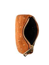 Leather Velvet Studs Coin Purse Milano Brown velvet VG20121-vue-porte