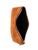 Leather Velvet Studs Zipped Pouch Milano Brown velvet VG20122-vue-porte