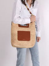 Holly Tote Bag Raffia And Leather Vanessa bruno Beige holly 67V40576-vue-porte