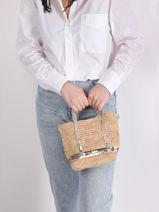 Crossbody Bag Baby Cabas Raffia Sequins Vanessa bruno tour du monde 64V40410-vue-porte