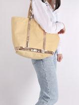 Zipped Shoulder Bag Le Cabas Sequins Vanessa bruno Yellow cabas 1V40409-vue-porte
