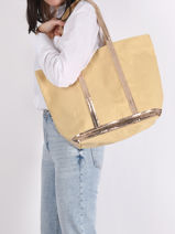 Medium ++ Cabas Tote Bag Sequins Vanessa bruno Yellow cabas 1V40315-vue-porte