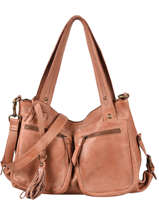 Leather Cow Shoulder Bag Basilic pepper Brown cow BCOW37