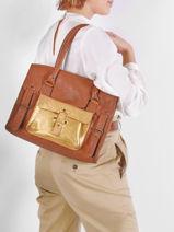 Leather Rive Gauche Doré Shoulder Bag Paul marius Brown dore RIVGMDOR-vue-porte