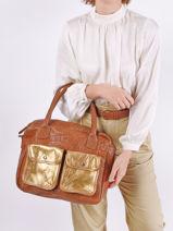 Leather Dandy Doré Tote Bag Paul marius Brown dore DANDYDOR-vue-porte