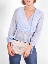 Crossbody Bag Straw Mila louise Pink straw 23665W-vue-porte