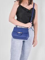 Longchamp Roseau Sacs porté travers Bleu-vue-porte