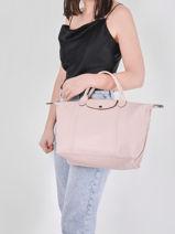Longchamp Le pliage cuir Handbag Pink-vue-porte