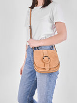Leather Velvet Saddle Bag Milano Beige velvet VB20123-vue-porte