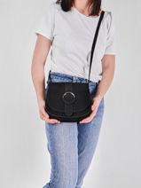 Leather Velvet Saddle Bag Milano Black velvet VB20123-vue-porte