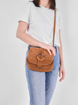 Leather Velvet Saddle Bag Milano Brown velvet VB20123-vue-porte
