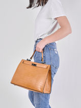Leather Croco Top-handle Bag Milano Brown CR20091-vue-porte