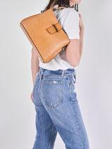 Leather Shoulder Bag Croco Milano Brown CR19113N-vue-porte