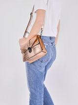 Leather Crossbody Bag Croco Milano Pink croco CR19062N-vue-porte