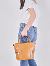 Leather Croco Handbag Milano Brown croco CR20121-vue-porte