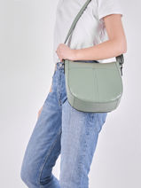 Leather Caviar Crossbody Bag Milano Green CA20121-vue-porte