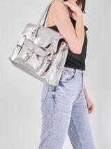 Leather Rive Gauche Argento Shoulder Bag Paul marius Silver argento RIVGMARG-vue-porte